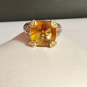 Judith Ripka 18k/925 Citrine/Diamond Ring